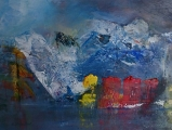 Inside passage, mixed media on board